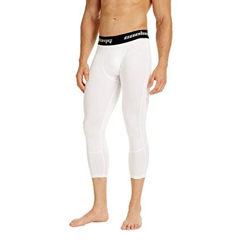 COOLOMG Kompressionshose Laufhose 3/4 Fitness & Training Funktionswäsche Hose Schnell trocknend für Herren Jugend Weiß L