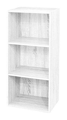 AntonaShop Libreria Colorata Componibile Modulare Legno MDF Laminato Mobile Scaffale (Bianco Frassinato)
