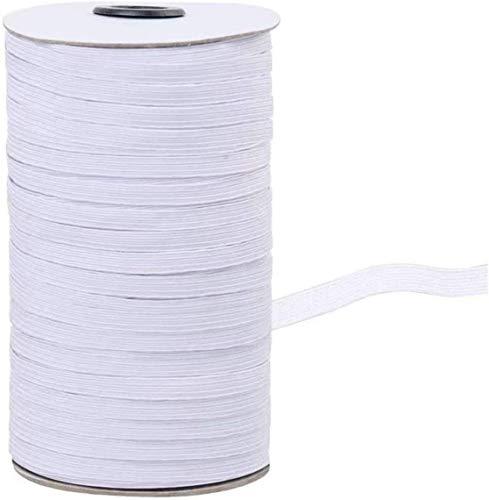 Gaorb Elastische, 3/5 / 6mm Polyester Flat Black/White Elastic 180m Gevlochten Band for kleding Ondergoed Naaien Crafts DIY sprei manchet (Color : White, Size : 3mm/180m)