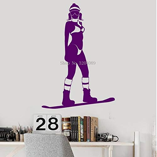 zqyjhkou Simple Look Vinyl Wall Decals Snowboarding Extreme Sport Snowboarder Home Decoration for Girls Art Stickers Unique Gift58x85cm