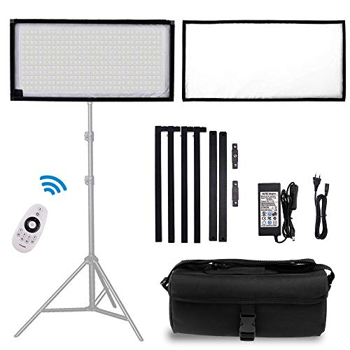 FOSITAN FL-3060A 2nd Gen Bi-Color Portable Rollable 30x60cm Flexible LED Light Panel Mat on Fabric Daylight 3200-5000K 48W 8000LM 384 SMD LED 90 CRI+ for Traveling filmmakers Outdoor Photography
