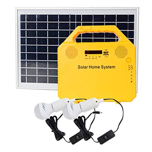 HPH Estación De Energía Solar Kit Panel Solar Portátil 6W Sistema Cargador USB Doméstico con Función Altavoz Bluetooth + 2 Bombillas LED Carga De Teléfonos Inteligentes con Iluminación Exterior