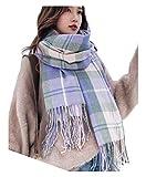 Wander Agio Women's Fashion Scarves Long Shawl Winter Thick Warm Knit Large Scarf Plaid Purple 14