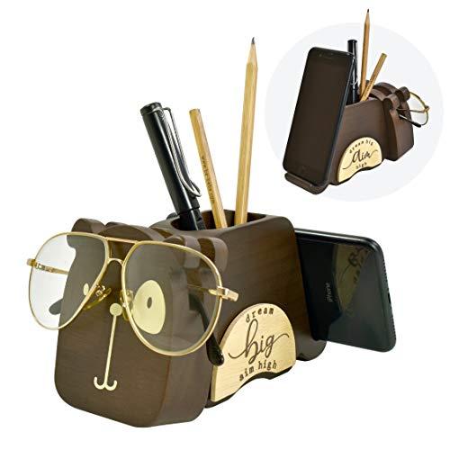 "I'm Wood Multipurpose Eyeglass Phone Pen & Dog Pencil Holder Stand Stationery Desk Organizer Accessories Decor, for Home Office Desktop Decoration Birthday Graduation Gifts ""Dream Big Aim High"" (Dog)"