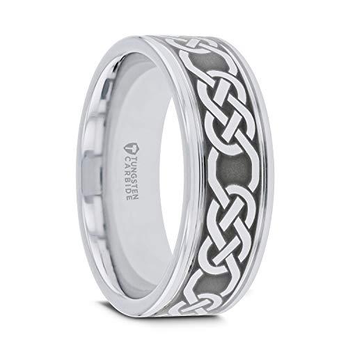 Thorsten Palatine | Tungsten Rings for Men | Tungsten | Comfort Fit | Celtic Pattern Laser Engraved Tungsten Wedding Band - 6mm