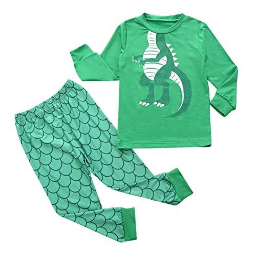 POLP niño Ropa de Dormir Navidad Ropa niñas Unisex Pijama Bebe Niños niña niños muñeco de Nieve Camiseta Tops Pantalones a Rayas Ropa de Navidad Pijamas de Dinosaurio Tops y Pantalones