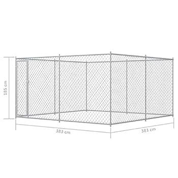 vidaXL Chenil Extérieur pour Chiens 383x383x185 cm Enclos Niche Cage Chiots Extérieur