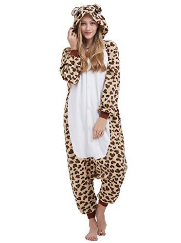 Pigiama Anime Cosplay Halloween Costume Attrezzatura Adulto Animale Onesie Unisex, Leopardo Orso per Altezze da 140 a 187 cm