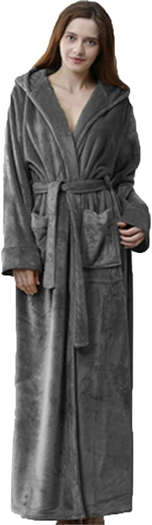 Bathrobe with Hood Plus Size,Long Bath Robe for Mens,Plus Size Men's Ultra-Long Thickened Flannel Nightgowns (Color : Woman Gray, Size : L)