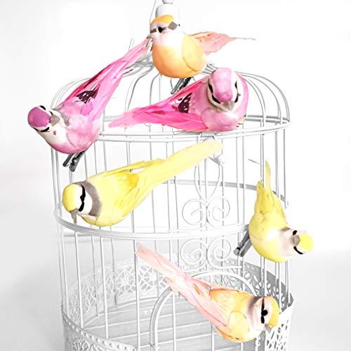 in due Dekovögel mit Federn Vögel mit Clip (6 Stück) rosa, apricot & gelb zum Dekorieren an Zweigen oder Dekokäfigen - Für Hochzeit, Frühling oder Tischdeko