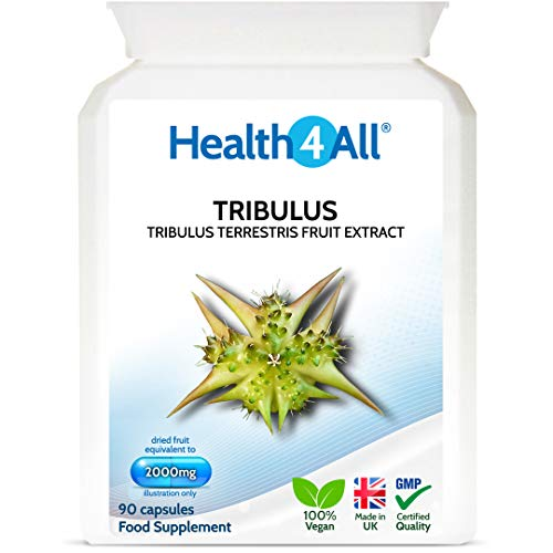 Tribulus Terrestris 2000mg 90 Capsules (V) Safe 90mg Saponins dose. Vegan. Made by Health4All