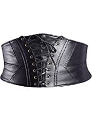 Elastic waist belt dimension: belt total length is 74 cm (without stretching), waist belt width is 15.8 cm, suitable waist girth is from 64 cm/ 25.2 inches to 84 cm/ 33.1 inches Good quality: corset waist belt is made of faux leather, metallic and sp...