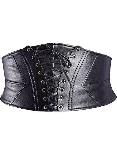 eBoot Elastische Taille Gürtel Gefesselt Korsett Cinch Mattenketten mit Druckknopf, Schwarz