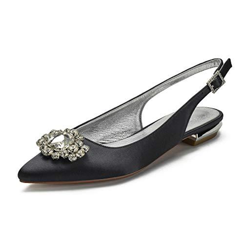 Gycdwjh Sandalias Planas de Verano, Sexy Zapatos de Novia Tacon Bajo Asakuchi Puntiagudo Zapatos de Fiesta de Noche para Fiestas y Bodas Altura del Tacón 2cm,Negro,42 EU