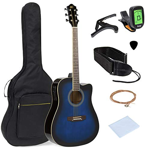 Best Choice Products 41in Full Size Acoustic Electric Cutaway Guitar Set w/Capo, E-Tuner, Bag, Picks, Strap - Blue