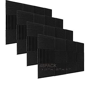 48 Pack Acoustic Foam Panel Wedge Studio Soundproofing Wall Tiles 12  X 12  X 1
