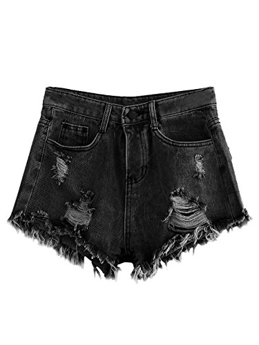 MakeMeChic Women's Cutoff Pocket Distressed Ripped Jean Denim Shorts Black S