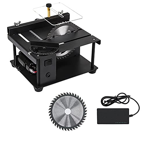Mini sierra circular de mesa (190 x 165 x 100 mm), mini sierra eléctrica ajustable de precisión de mesa, profundidad de corte de 40 mm, 7 tensiones ajustables, 3000 rpm, ángulo de corte de 90°.
