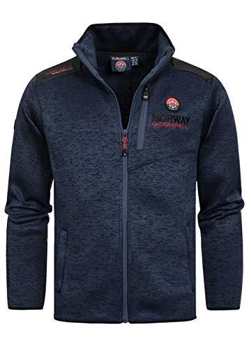 Geographical Norway Herren Fleece Jacke Contrast Shoulder Sweater Ches Logo Embro 2 Zipped Pockets, Navy, Gr:L