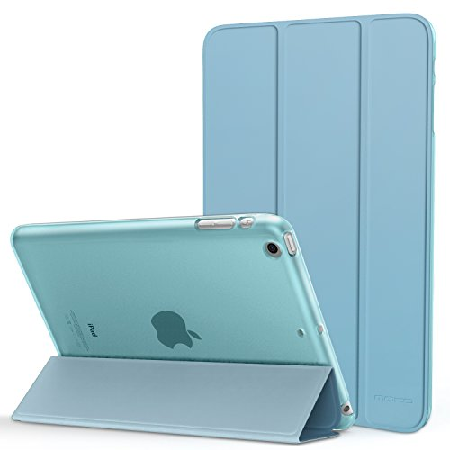 MoKo Case for iPad Mini 1/2 / 3, Ultra Slim Lightweight Smart-shell Stand Cover with Translucent Frosted Back Protector for iPad Mini 1 (2012)/iPad Mini 2 (2013)/iPad Mini 3 (2014), Light Blue