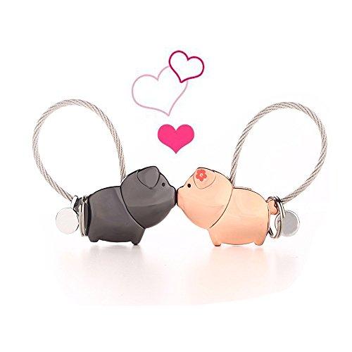 Twshiny Coppia Portachiavi, 1 Paio Lega di Zinco Baciare Carino Animale Coppia Chiave Anelli Chiave Gancio per Ragazza Fidanzata Regalo di San Valentino (Pig)