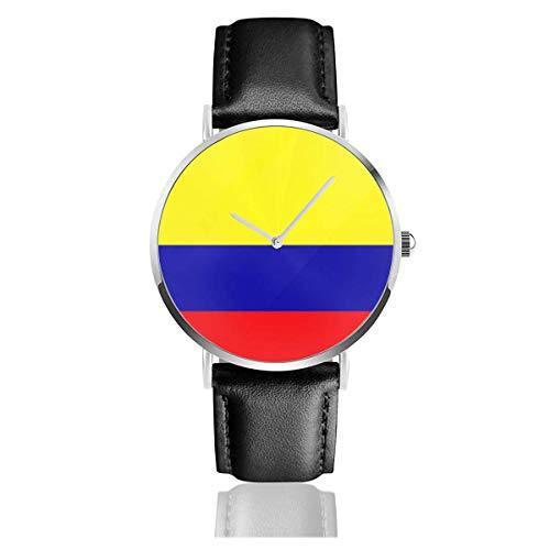 Relojes de Pulsera con Correa de Cuero Colombia Flag Casual Reloj de Negocios de Cuarzo de Acero Inoxidable