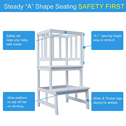 WORTHYEAH Kids Step Stool with Safety Rail, Bamboo Toddler Kitchen Step Stool, Step Tower for Toddlers, Kitchen Helper Stool for Kids, Mother's Help Stool