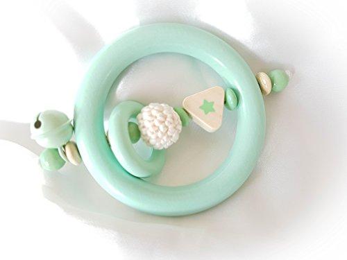 Premium babygrijp/rammelaar - zonder naam - cadeau voor doop, geboorte, babyparty Grau Mint, Natur, Stern, Ring