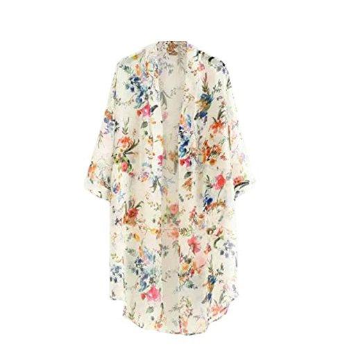 Malloom Mujeres Floral Flor borlas mantón Kimono Blusa Escudo Cardigan (White, 2)
