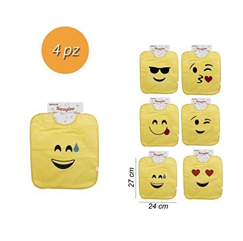 takestop® slabbetjes set van 4 Emoji Smile slabbetjes kleurrijk waterdicht emoticon voering jongens meisjes katoen patroon willekeurig