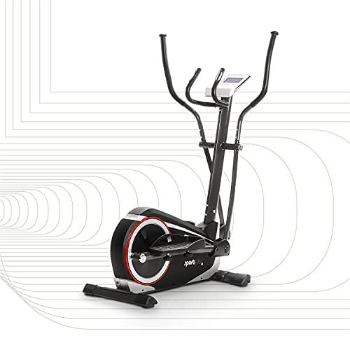 SportPlus bicicleta elíptica con aplicación para smartphone, 24 niveles de resistencia, sensores de pulso manual, masa de volante de 12 kg, homologado, peso del usuario 150 kg, SP-ET-9600-iE