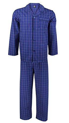 New Herren Schlafanzughose WOVEN Set 2Stück Pyjama Lounge Wear Geschenk Schlafanzug Pyjama Nachtwäsche Gr. XL, Navy - Check