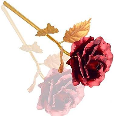 Nihan Enterprises 24 K Gold Rose in 24cm Long and Heart Box in 12cm Long (Valentine Couples Gift)