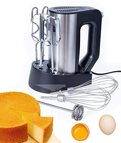 WantJoin Hand Mixer 2* Egg Beater, 2*Dough Hook,2*Balloon Whisk ,1*Milk Frother Ergonomic Grip, and Turbo Button +Stand 200w (BLACK)