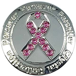 Parsaver Swarovski Crystal Golf Ball Markers - with Hat Belt Clip - Deluxe Pink Ribbon Design - Cancer Awareness - Unmatched Brilliance and Sparkle on The Greens - Great Golf Gift idea for Her
