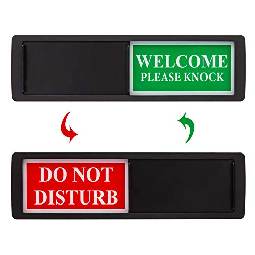 Privacy Sign - Do Not Disturb / Welcome Sign for Home Office Restroom Conference Hotel Hospital, Easy to Read Non-Scratch Magnetic Slider Door Indicator Sign with Clear, Bold & Colored Text - Black