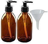 mikken 2 Seifenspender 250 ml Lotionspender aus Braunglas, BPA frei, lebensmittelecht inkl. 1...