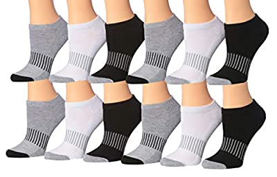 Tipi Toe Women's 12-Pack No Show Athletic Socks, Sock Size 9-11 Fits Shoe 6-10, WS09