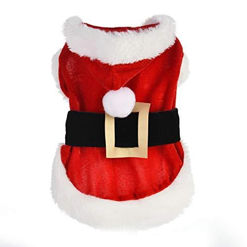 QZHYGE Disfraz de Perro Mascota de Navidad Ropa de Navidad Cazadora de Invierno Chaqueta de Abrigo Disfraz de Cachorro Ropa de Chihuahua York M Rojo