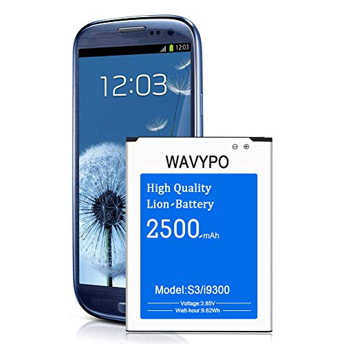 Wavypo Galaxy S3 I9300 Battery, 2500mAh Li-ion Replacement Battery for Samsung Galaxy S3 I9300, I9305 LTE, I535, T999, I747, L710, S3 Spare Battery [24 Month Warranty]