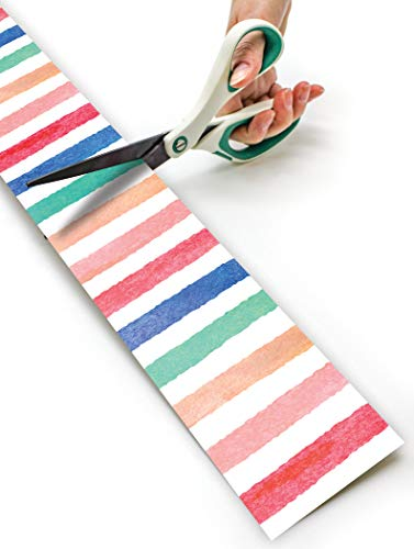 Watercolor Stripes Straight Rolled Border Trim Photo #3