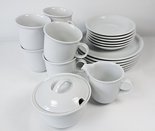 Thomas Trend Weiss 20tlg. Geschirr/Kaffee Set Service mit Becher 0,28ltr. (Becherset mit Milchkännchen 0,18ltr. und Zuckerdose 0,33ltr.)