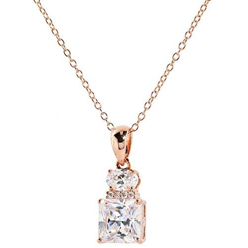 Judith Williams Touch of Diamonds Damen-Halskette mit Anhänger Sterling-Silber 925 rosévergoldet Zirkonia weiß 45cm