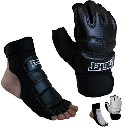 Sparring Set MMA Gloves Hand Foot Protector Taekwondo Sparring Gear for Martial Arts Punch Bag Kickboxing Foot Guards Karate Training Boxing Gloves Foot Gear for Men Women Kids XS-XL (Small, Black)