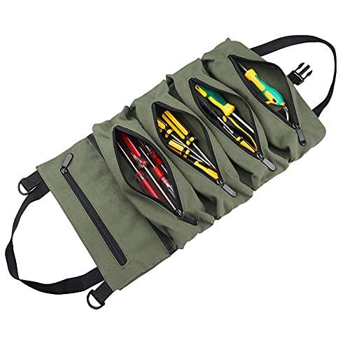 Multi-Purpose Tool Roll Up Bag, Moersleutel Roll Pouch En Waxed Canvas Tool Organizer Emmer Geschikt Voor Elektricien…