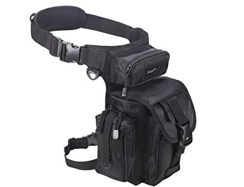 Jueachy Multifunktional Drop Leg Taille Tasche Taktischer Militär Oberschenkel Hip Outdoor Pack für Motorrad Wandern Reisen Angeln Werkzeugtasche (Schwarz)