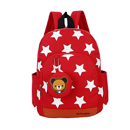 FlyingskyDurable Five-Pointed Star Bear Coin Purse Backpack for Kids (Red)