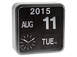 -Small Automatic Flip Wall clock with calendar function -Easy to read calendar featuring Day with AM PM detail, Date and Year (year changed manually) -Clock features red second and silver plastic casing. Includes numbers for changing the year -Measur...