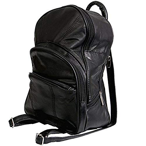 Hot Leathers 18554 Black 9' x 12' x 4' Genuine Leather Mini Backpack