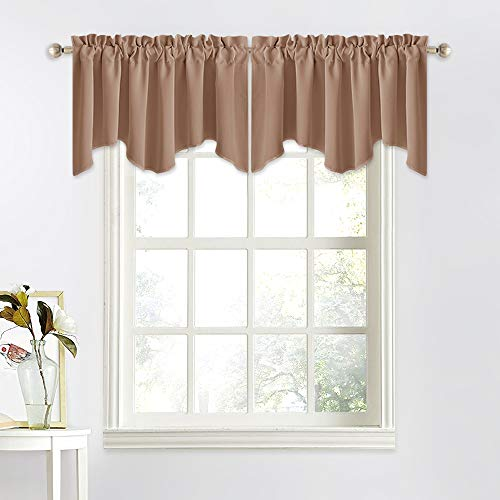 NICETOWN Blackout Valances Short Curtains - W52 inches by 18 inches Half Window Topper Valance Tier Panel Drapes with Rod Pocket for Basement/Kitchen/Bedroom (Tan=Cappuccino, 2 Panels Per Package)